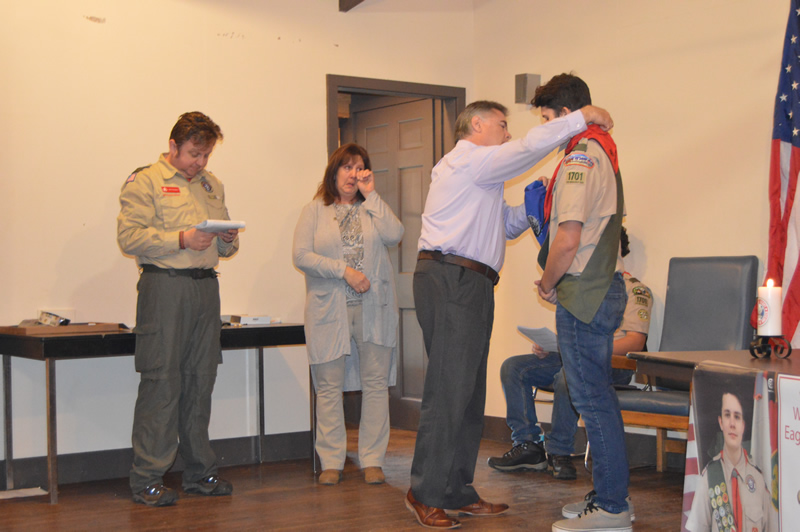 Sean Wheeler receives his Eagle Badge Project in a ceremony at Lawson Lake County Park. Congratulations!